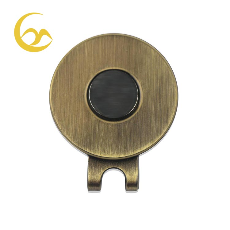 High quality GH0001 antique brass magnetic golf hat clip for retails, Nickel;antique brass