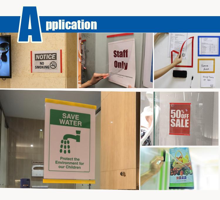 स्वयं चिपकने वाला पोस्टर फ्रेम साइन दीवार माउंट दस्तावेज़ धारक हटाने योग्य