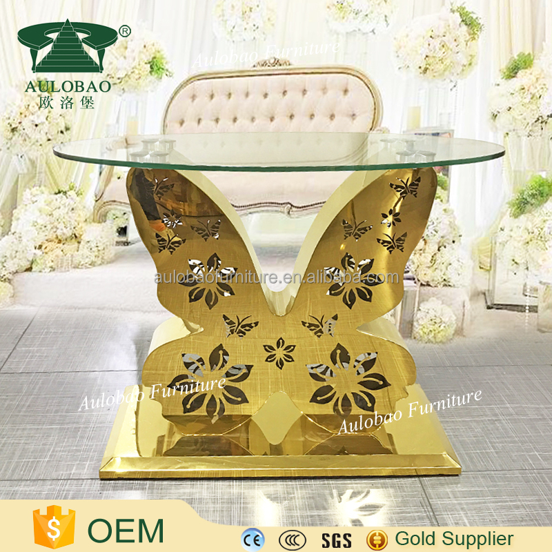 2017 new design glass top gold stainless steel butterfly table