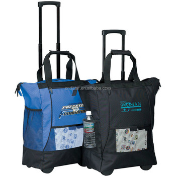 2017 600d Polyester Rolling Tote Bags Wheeled Ping Cooler 600 Denier Bag With Trolley