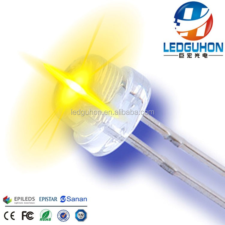 China sell water clear yellow through hole dip led short legs straw hat