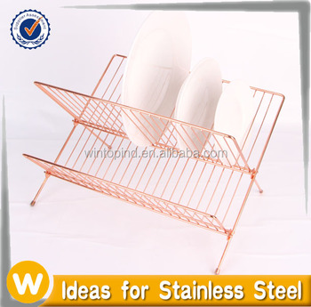 2 Tier Metal Wire Folding Dish Rack Dish Drainer Dish Holder