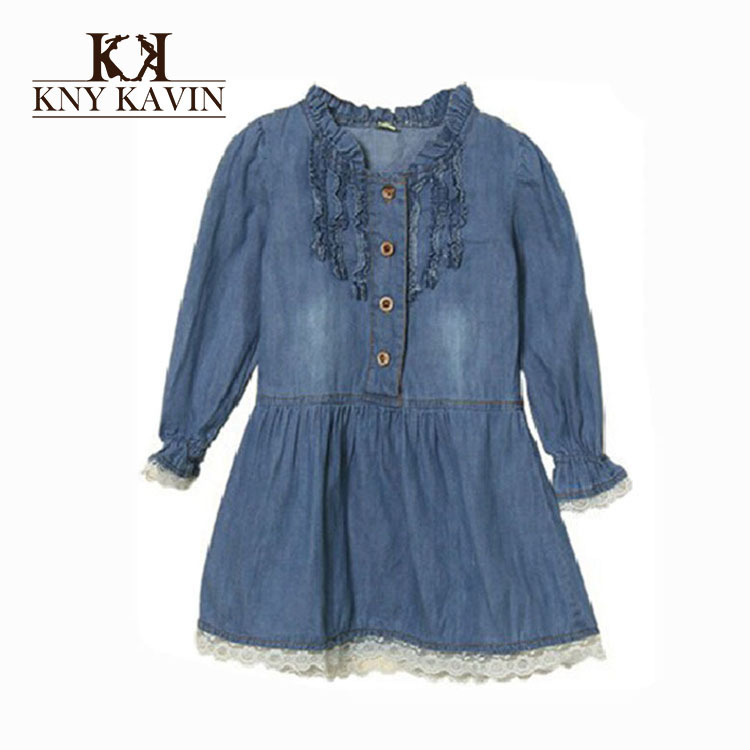 2015 summer new arrival girls dress denim dress for girl long sleeve summer style casual children princess dress KD239
