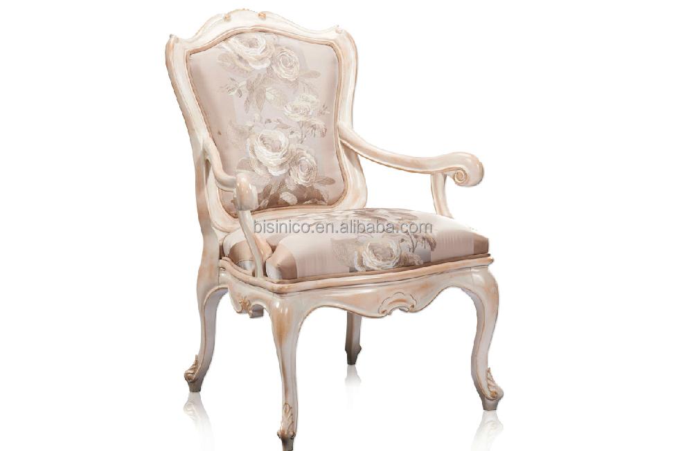 Style Francais De Luxe Chaise Royale En Bois Tissu Blanc Chaise De