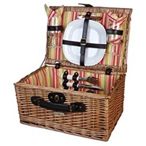 Willow Picnic Basket For 2 - Willow Picnic Basket For 2 Willow Picnic Basket With Dinner Service For 2 With Cotton Lining And Made Of Willow,This Classic Suitcase Basket Is The Ideal Gift For Any Occ