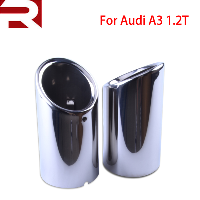 2pcs Auto Car Tail Dual Letout Stainless Steel Exhaust Tip Pipe Tip Muffler Car Styling Modified Fot AudiA1 A3 VW Beatles