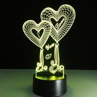 Gift for lover 3d heart shaped nightlight LED 7 colors touch remote acrylic night lamp