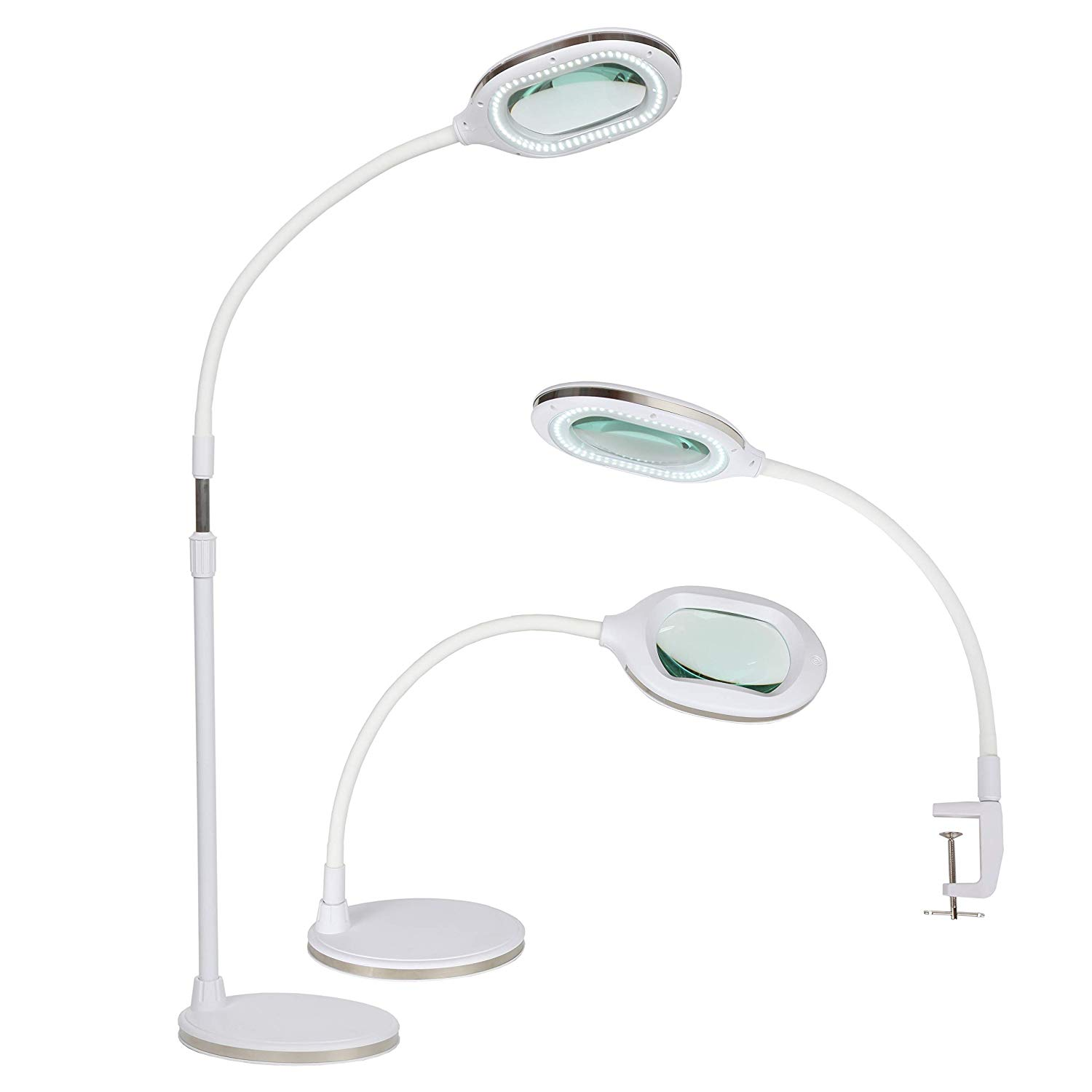 Brightech Lightview Pro 3- in 1 LED Magnifying Glass Floor Lamp- Use as a Table, Floor, or Desk Lamp - Real Diopter Glass Lens – Height Adjustable Gooseneck Standing Light – White