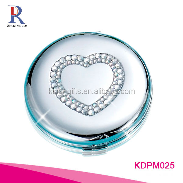 Best fashionable bling bling rhinestone heart shaped design handheld white compact mirror