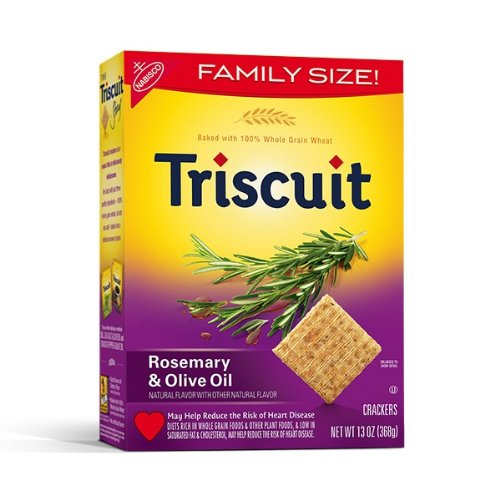 Nabisco, Triscuit, Rosemary & Olive Oil Crackers, Family Size, 13oz Box (Pack of 3)