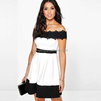 72b36b31ffa9 Latest Dress Designs For Ladies Short Frock Dress Off Shoulder Lace Skater  Dress HSD9336