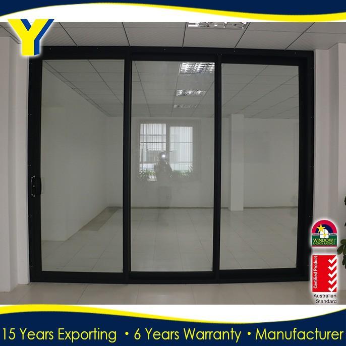 3 Panel Sliding Glass Door: Aluminium Three Panel Sliding Glass Door_Double Glazed