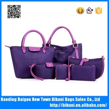 New design hot sale waterproof nylon bags fashion women bags set handbags with 6 pcs made of nylon