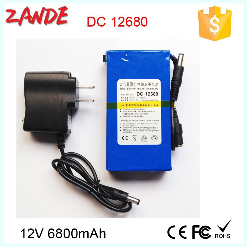 Rechargeable DC-12680 12V 6800mAh li-on polymer battery pack for lan router,CCTV Cam