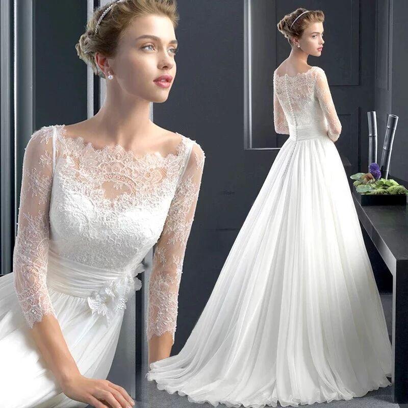 Sapphire Bridal Vintage Wedding Dress 3 4 Sleeve White: Aliexpress.com : Buy Latest Design Beach Wedding Dress