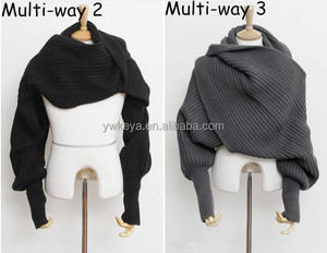 Men and Women Solid multi Scarf with Sleeves Crochet Knit Long Soft Wrap Shawl Scarves