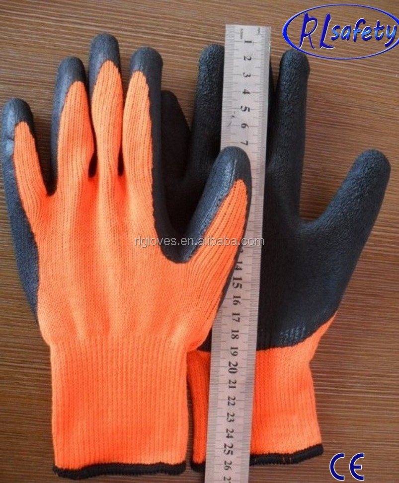Large 12 Pairs Latex Coated Orange Rubber Work Gloves Mens Safety Builders Gardening