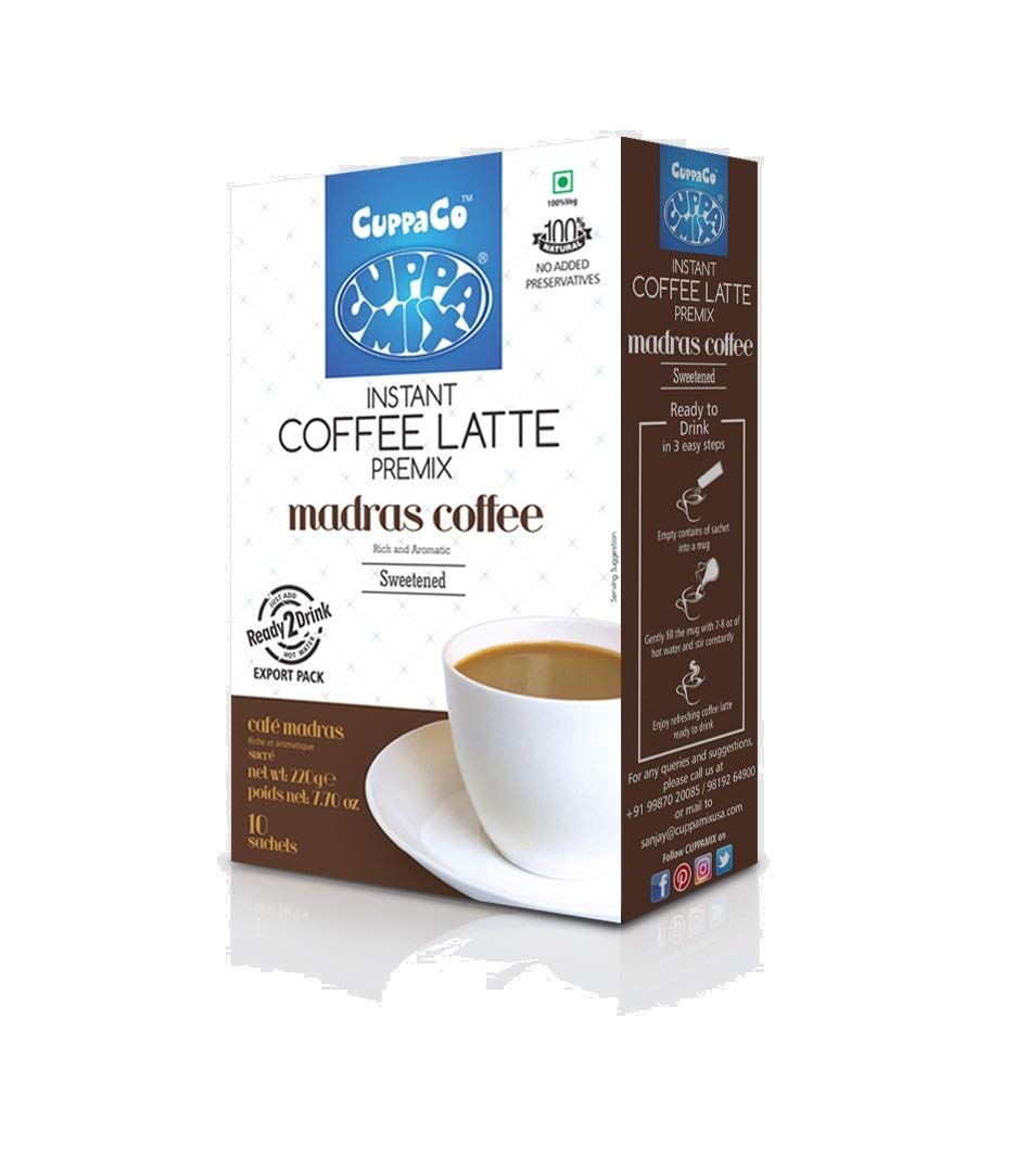 Instant Coffee Latte by CuppaMix   Premium, Natural, Low Calories Coffee Mix   (Pack of 2) (Sweetened)