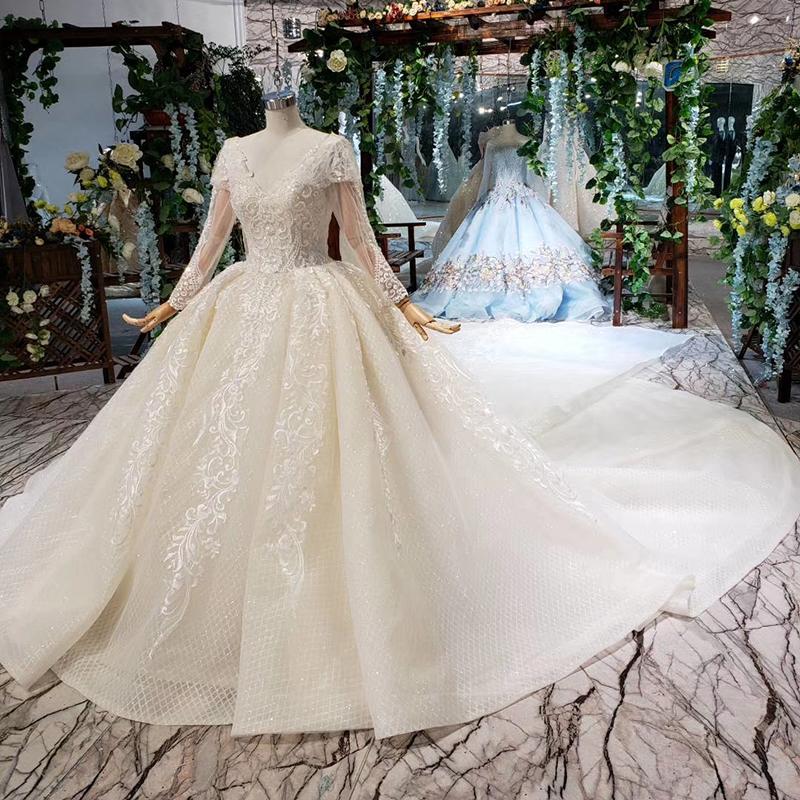 a79113f844f83 Jancember HTL476 uzun kuyruk imalatı çin uzun kollu aşk sezon çay boyu  köpüklü düğün elbisesi