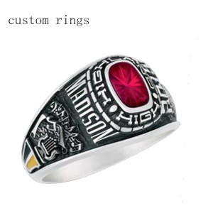 Unisex class ring red CZ stones bezel setting custom diameter&size