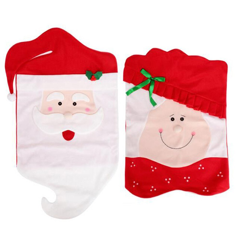 IYUNYI 1Pair Mr & Mrs Santa Claus Christmas Dining Room Chair Cover Home Party Decor