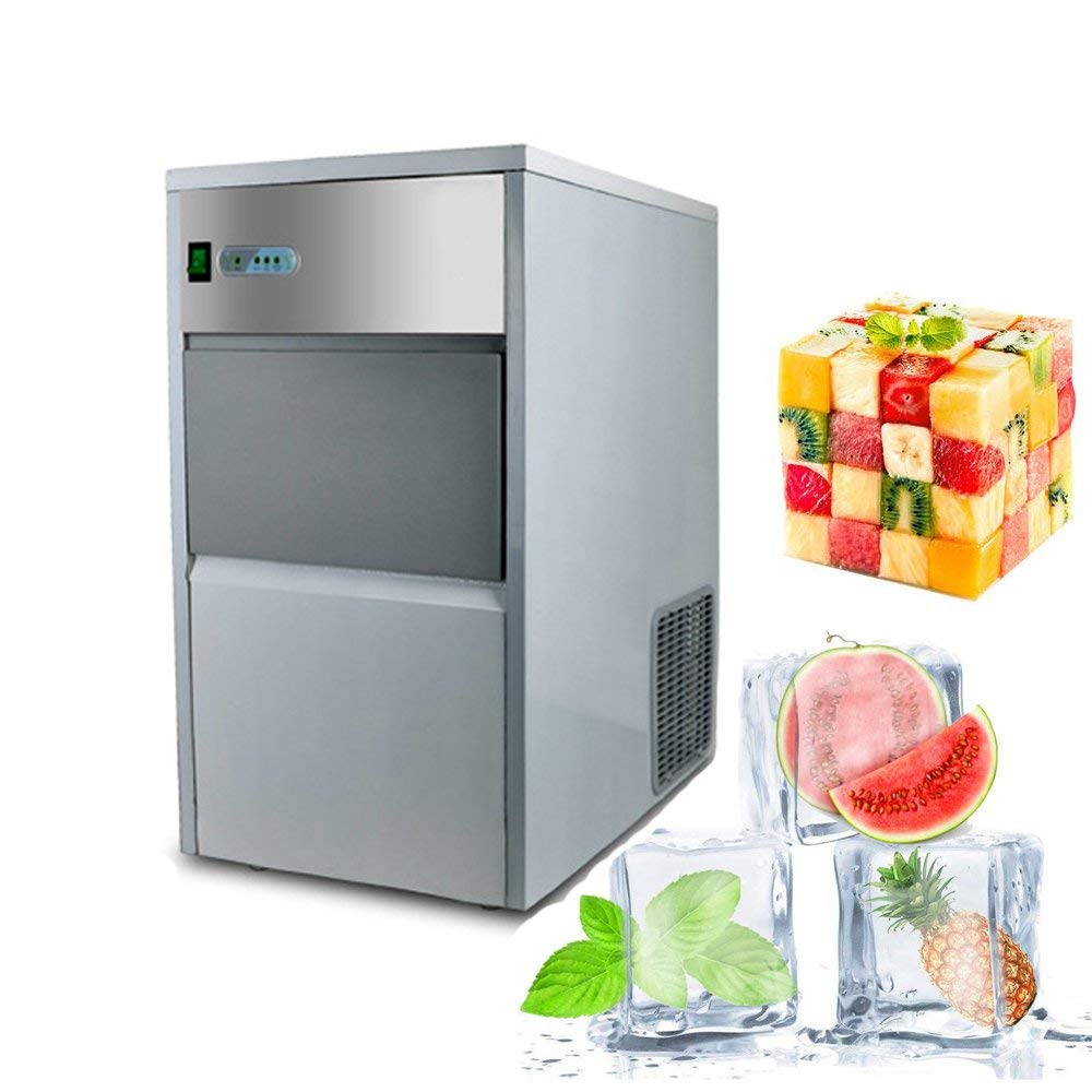 Commercial Ice Maker, Denshine Ice Maker Machine Stainless Steel Commercial Countertop Ice Maker Machine Electric Ice Making Machine with Ice Scoop Automatic Ice Cube Machine for Restaurant Commercial