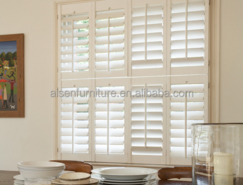 Unfinished Interior Wooden Shutters Home Decorative Window Plantation  Shutters