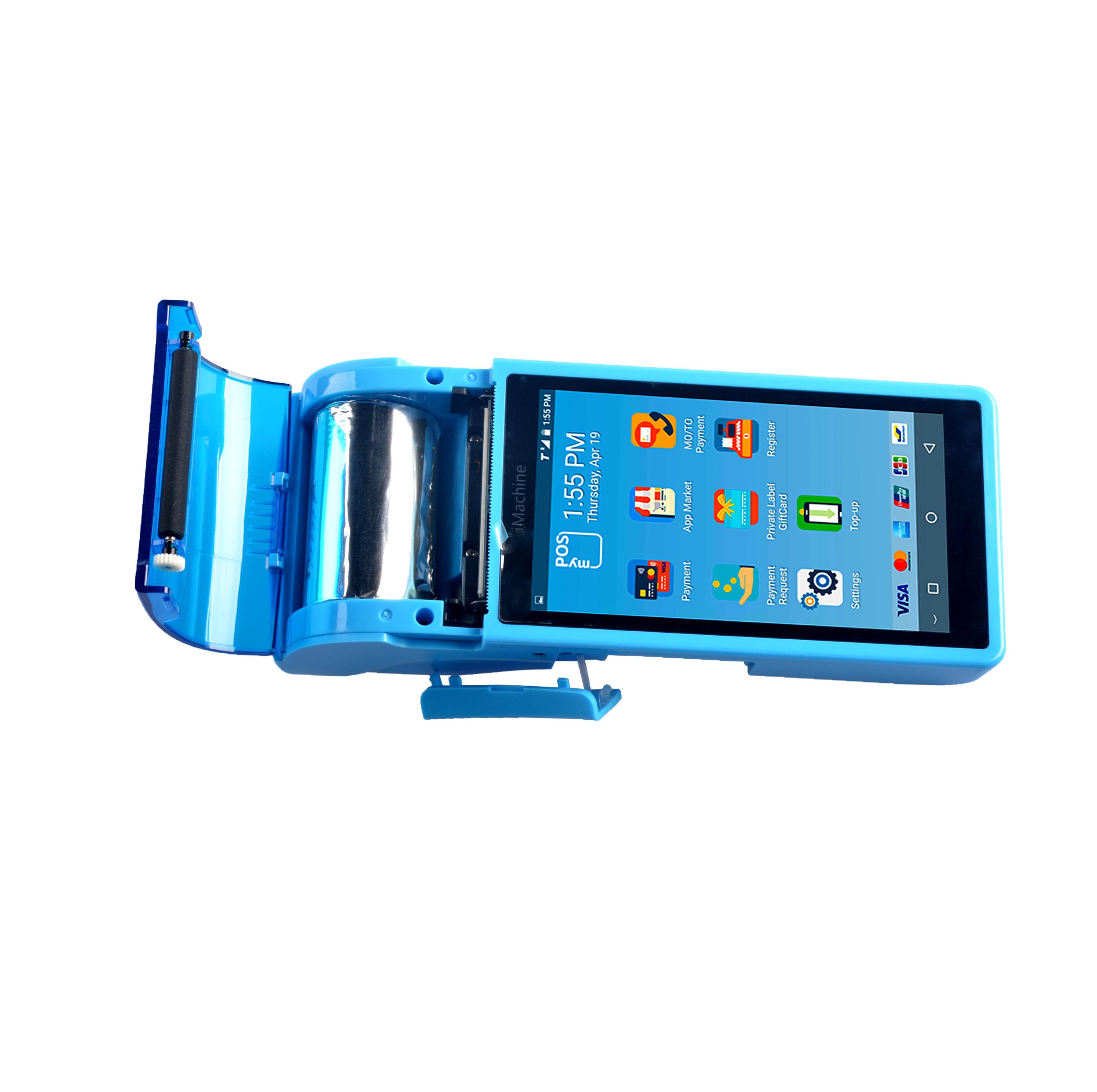 携帯 Android のタッチスクリーンハンドヘルド Pos 58 ミリメートルサーマルレシートプリンタ 5 インチ 3 グラムの bluetooth 無線 lan バーコードポイント販売システム