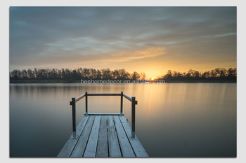Simple Sunset Lakeside Landscape Picture Painting On Stretched Canvas Light Up With Led