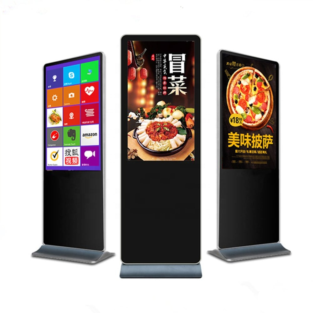 55 Super slim free stand kiosk interactive all in one touch screen standing advertising kiosk