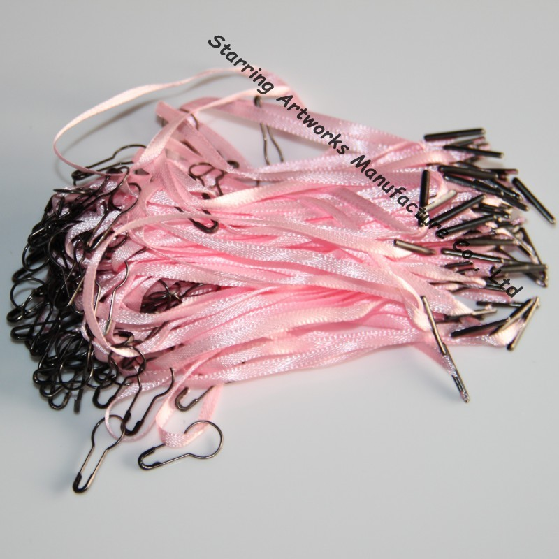 Popular 120mm Pink Color Ribbon Cloth Label String With Safety Pin