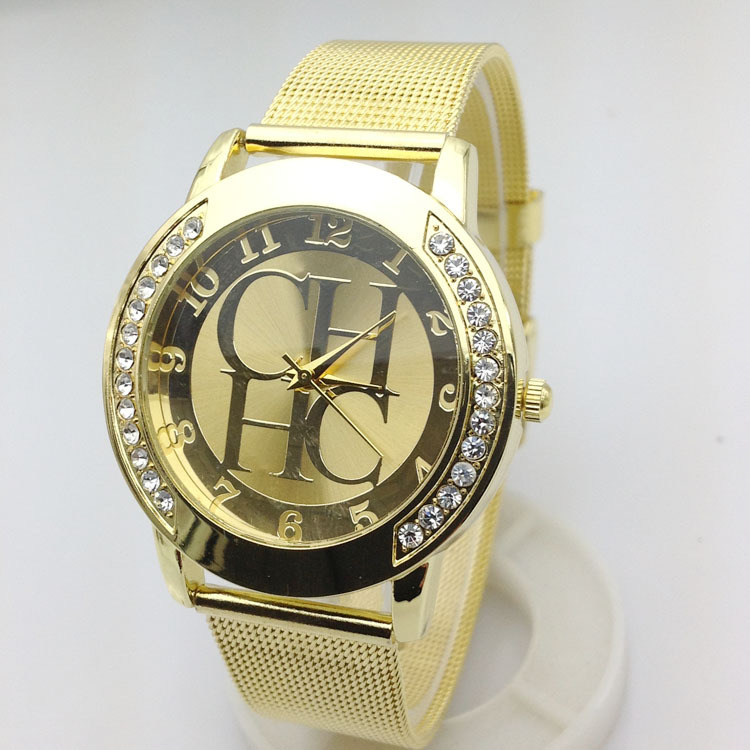 780db9e61be 2015 New Brand Gold Geneva Crystal Casual Quartz Watch Women Metal Mesh  Stainless Steel Dress Watches