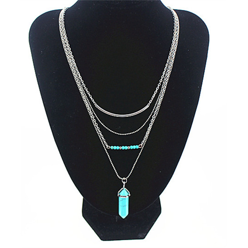 Only 4 U Bijoux Multi Strand Faux Turquoise Bullet Layer Point Pendant Necklace de multiples collar de oro capa Collares #NK0012