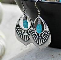 Turquoise Jewelry, Silver Chandelier Earrings, Genuine Arizona Turquoise Bohemian Earrings
