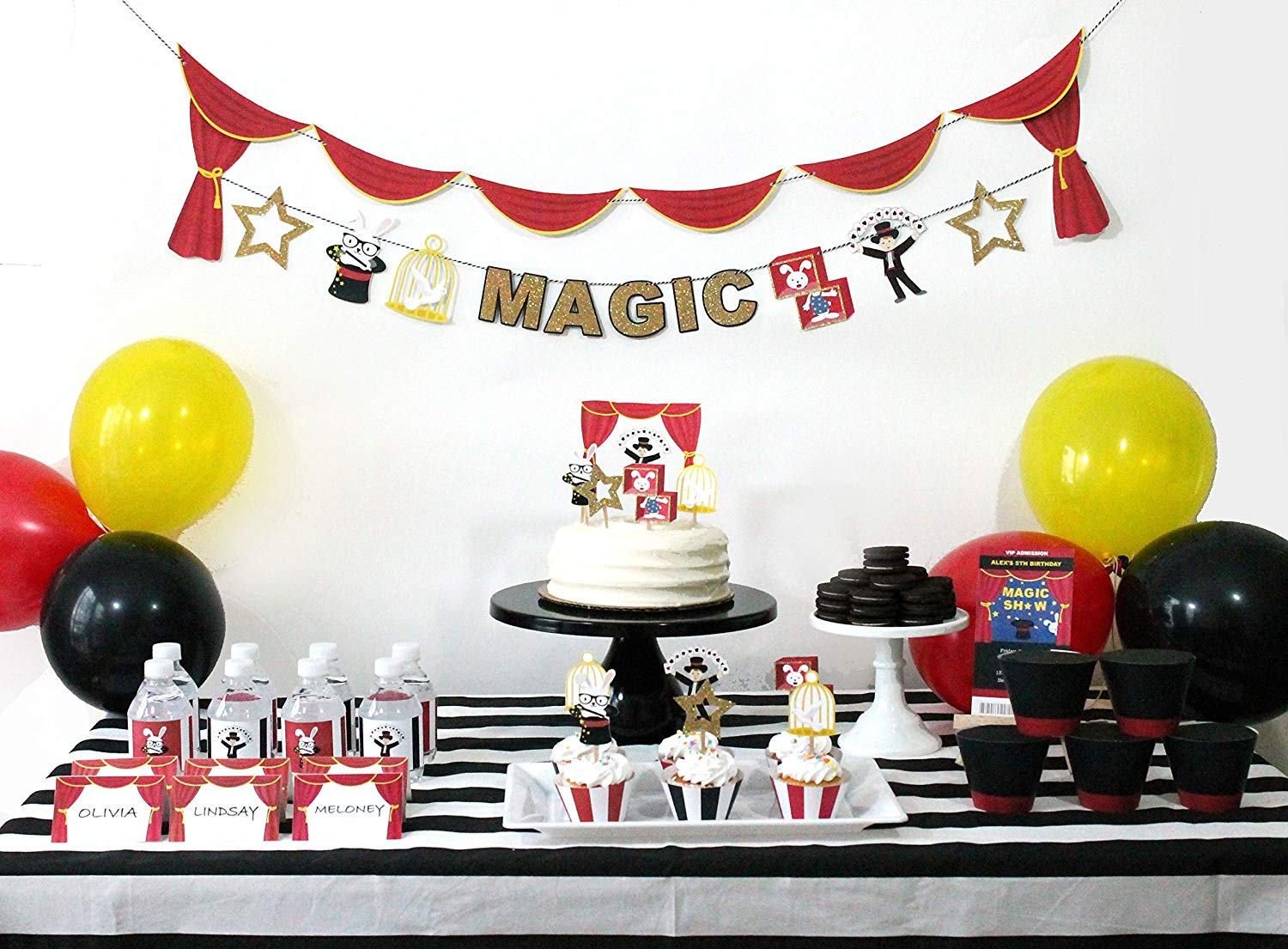 Magic Show - 12 Guest Party Decor Set | Party Kit | Magician Party Decorations | Magic Show Theme | Party Supply | Birthday Banner, Cupcake Toppers, Magician Hat