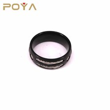 POYA Jewelry Vintage Punk Style Mens 8mm Black Titanium Ring With Two Grey Braided Steel Ropes Inlay Wedding Bands