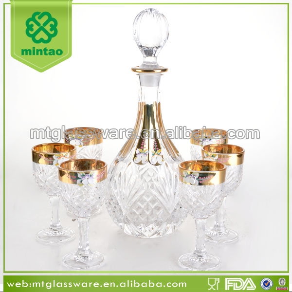 Luxury gold rim design fairy turkish crystal wine glass dinner set