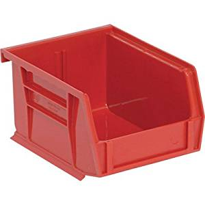 Quantum Storage Heavy Duty Stacking Bins - 5 3/8in. x 4 1/8in. x 3in. Size, Red, Carton of 24