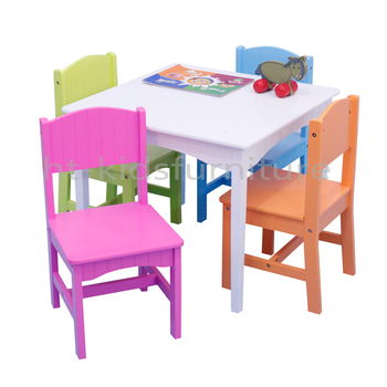 Pastel Wood Easy Assembly Kids Wooden Table And Four Matching Chairs,  Sturdy Construction Kids Bedroom