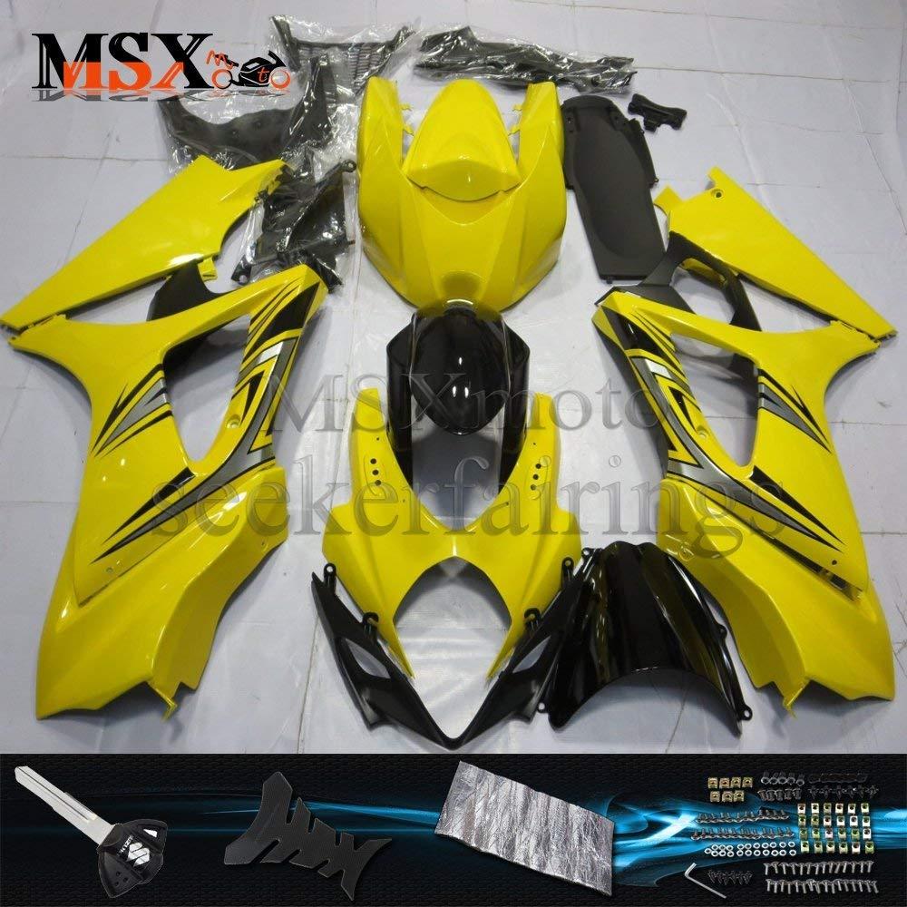 MSXmoto Fairing Kit Fit for Suzuki GSXR1000 K7 07 08 GSXR 1000 2007 2008 Motorcycle Fairing Kit Plastic ABS plastic Injection Molding Kit Complete Motorcycle Fairing Bodywork Painted(Yellow&Black)