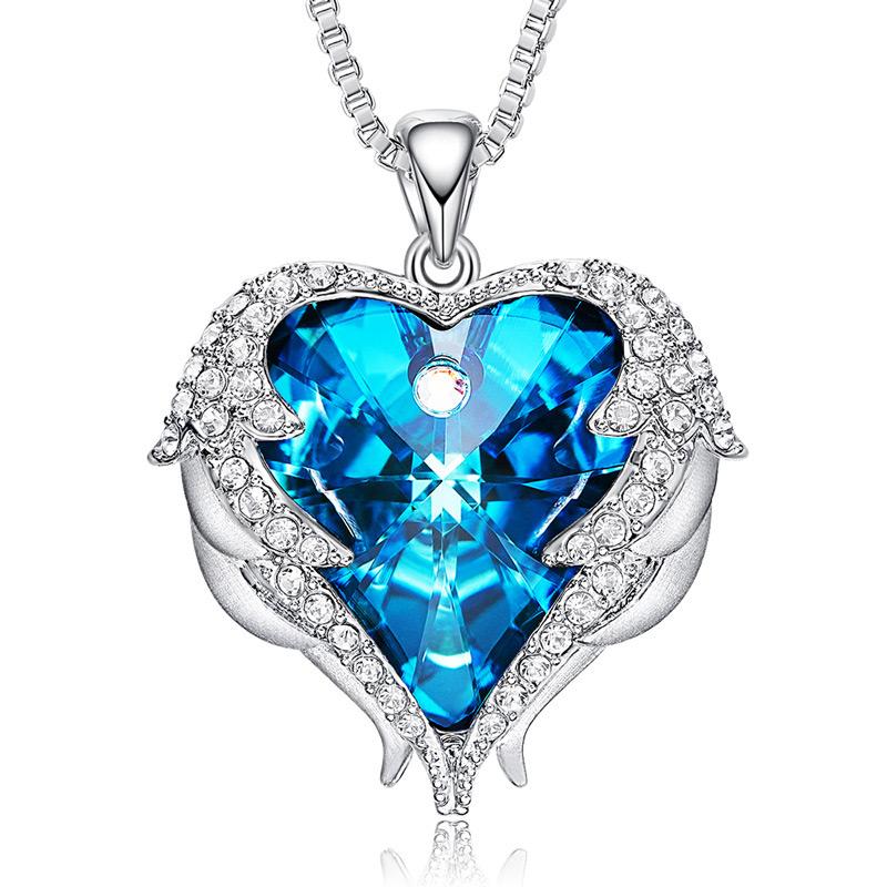 386b794e64c8 Ad Venta al por mayor de moda joyas collar de corazón adornado con  cristales de Swarovski