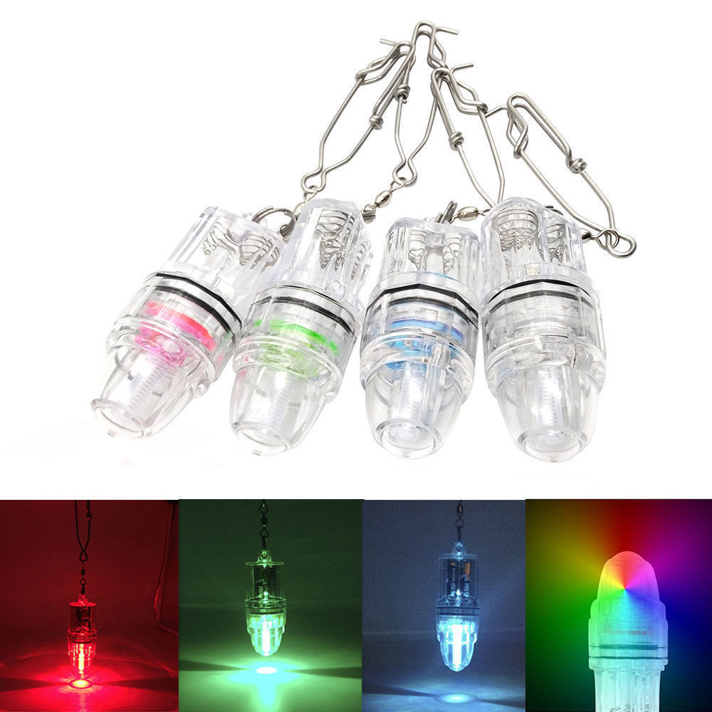 Wholesale Deep Drop LED Fishing Light & CLIP Underwater Lamp Attracting Night Lure 4 Color 4pcs/set, 4 colors