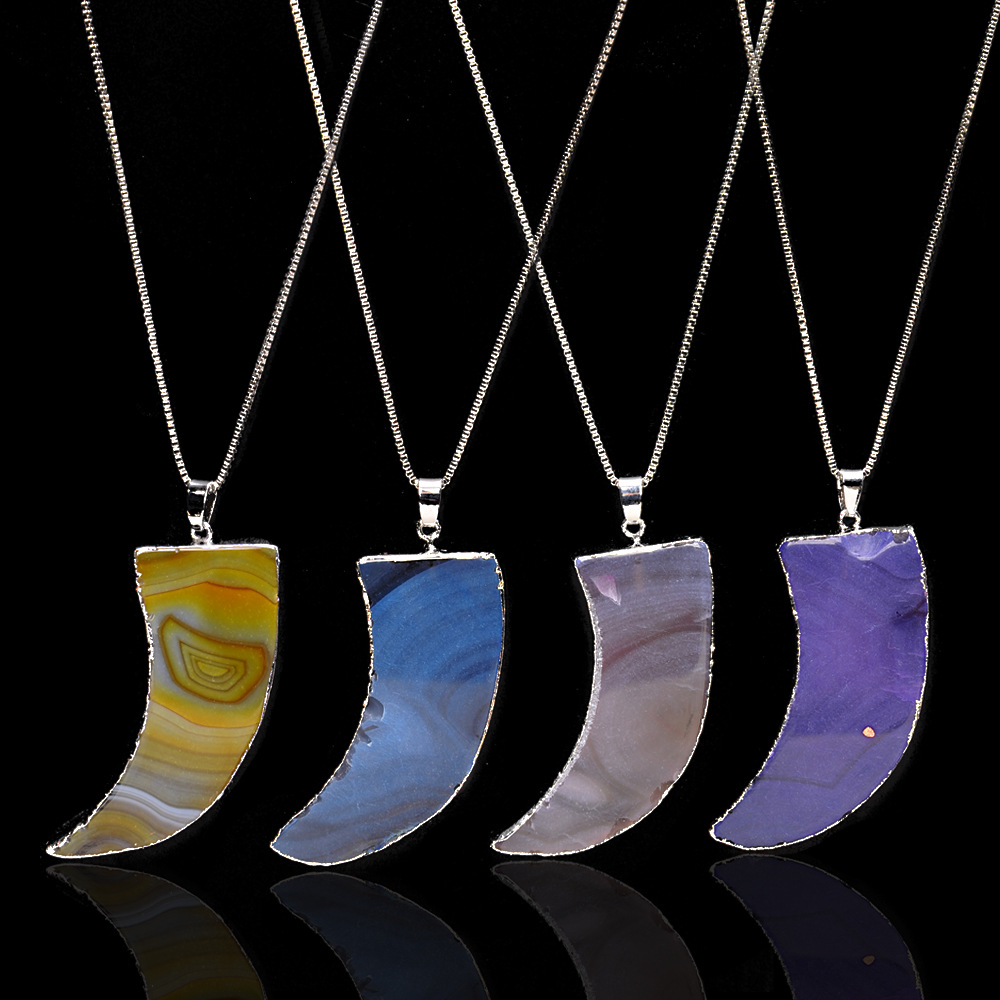 New Moon Shape Solid Natural Stone Pendant Necklace for women men Handmade Tooth Shape Stone Charms Necklace Jewelry wholesale
