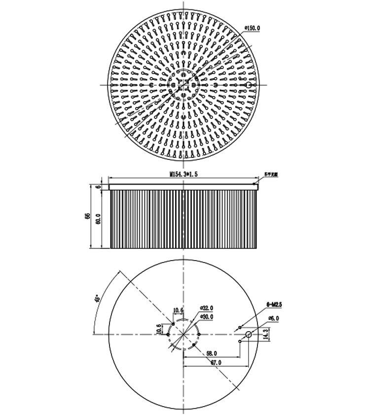 140mm factory custom cold forging round led aluminum pin fin cob heatsink