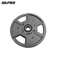 OKPRO Free Weight Plate Black Painted with 3 handles Cast Iron Weight Plates