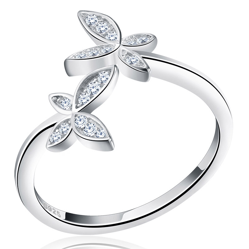 RISR10 Fashion Genuine S925 Sterling Silver Wedding Jewelry Butterfly Design Adjustable Finger Rings For Women фото
