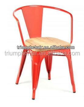 Triumph Chairs With Wooden Seat Marais Metal Dining Armchair Powder Coated Marai Cafe Chair