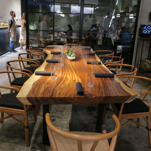 China supplier good quality acacia walnut slabs solid wood rustic dining table top