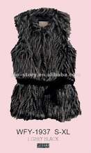 2012 lady fashion fake fur waistcoat with belt