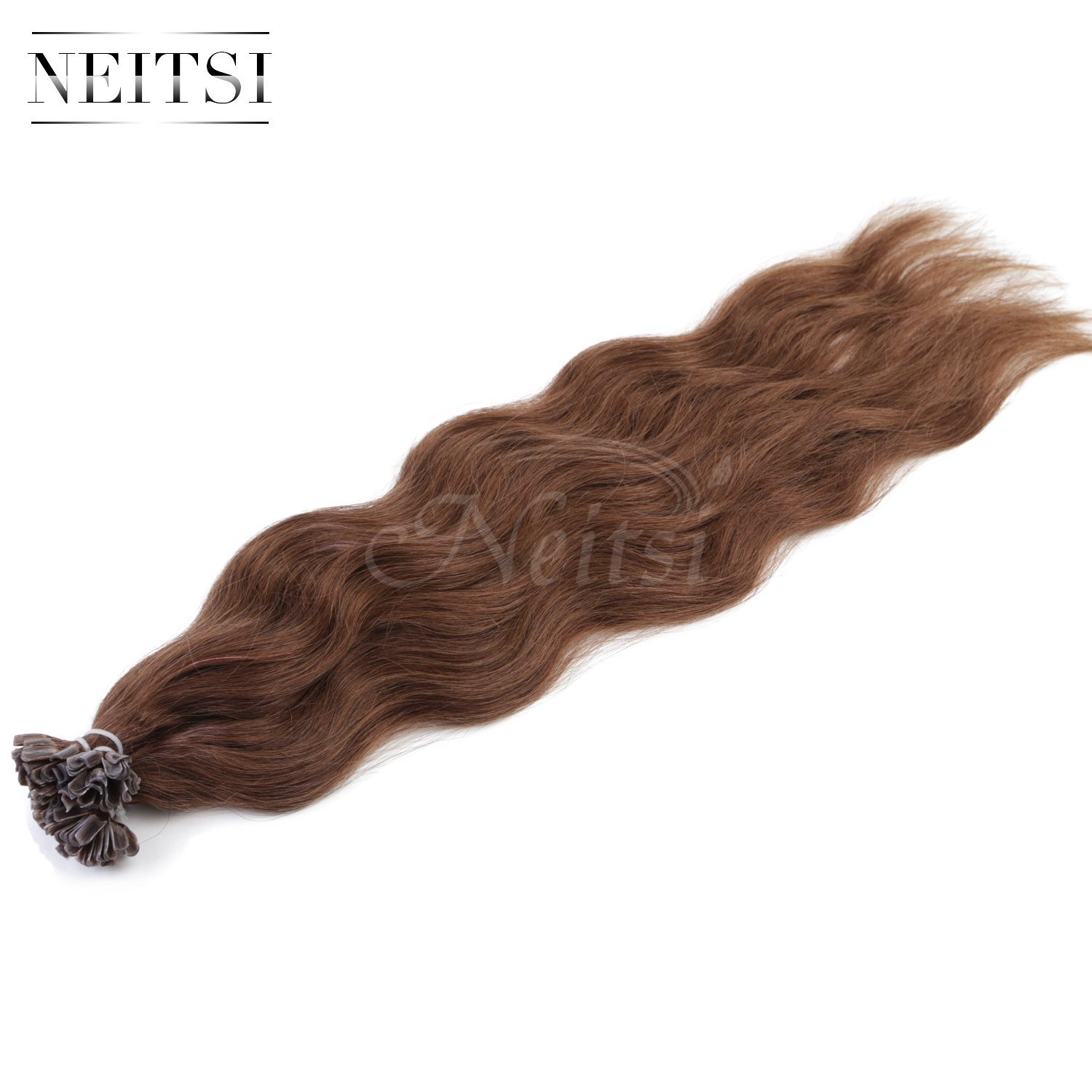 "Neitsi 20"" 25s/lot 1g/s 100% Remy Human Hair Nail U Tip Hair Extension Natural Wave (8#)"